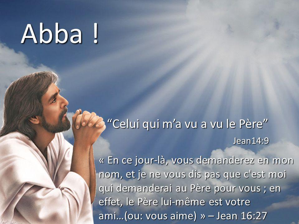 Abba ! Celui qui m'a vu a vu le Père