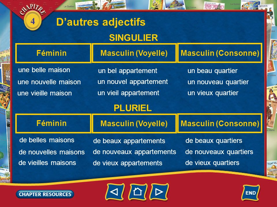 D'autres adjectifs SINGULIER PLURIEL Féminin Masculin (Voyelle)