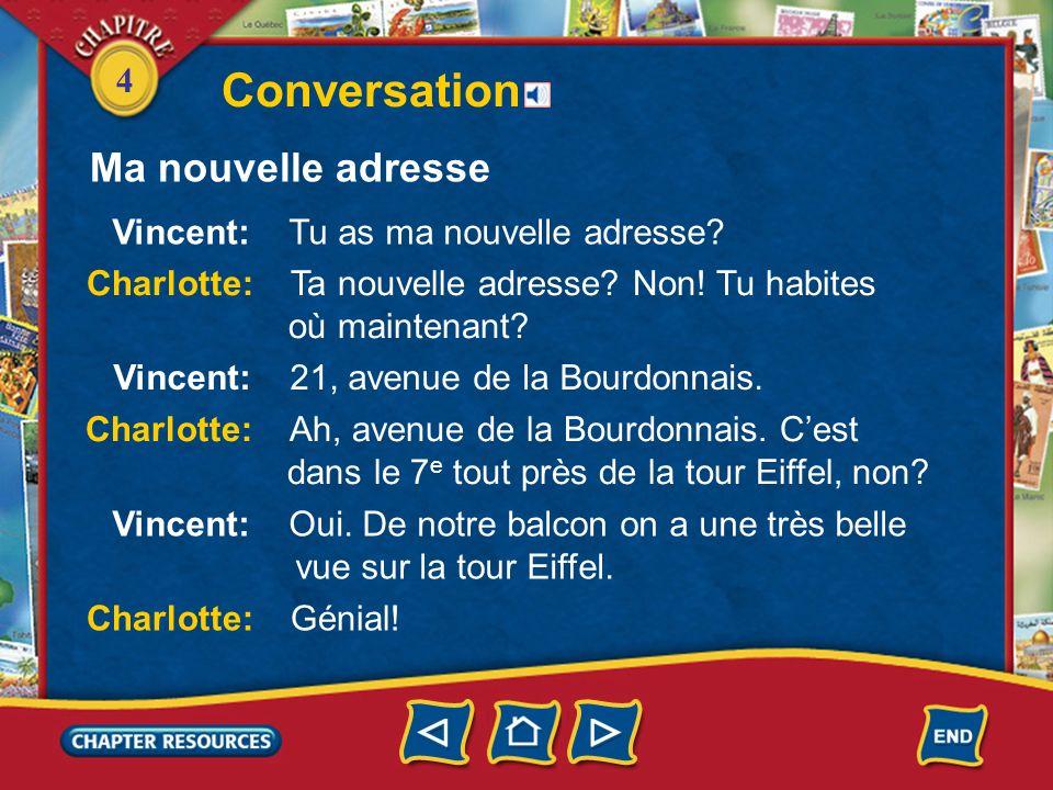 Conversation Ma nouvelle adresse Vincent: Tu as ma nouvelle adresse