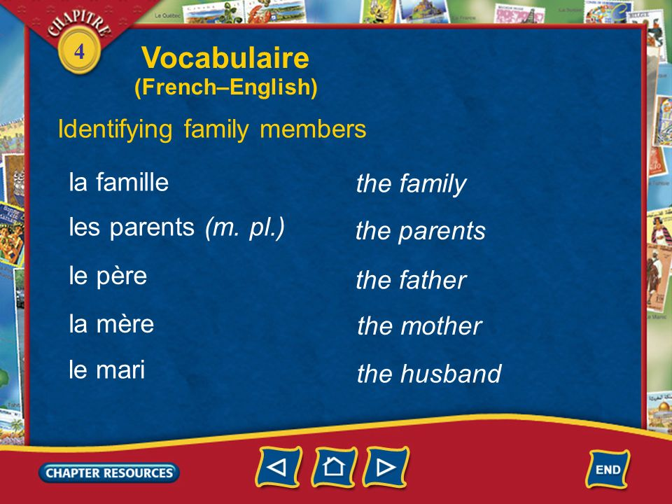 Vocabulaire Identifying family members la famille the family