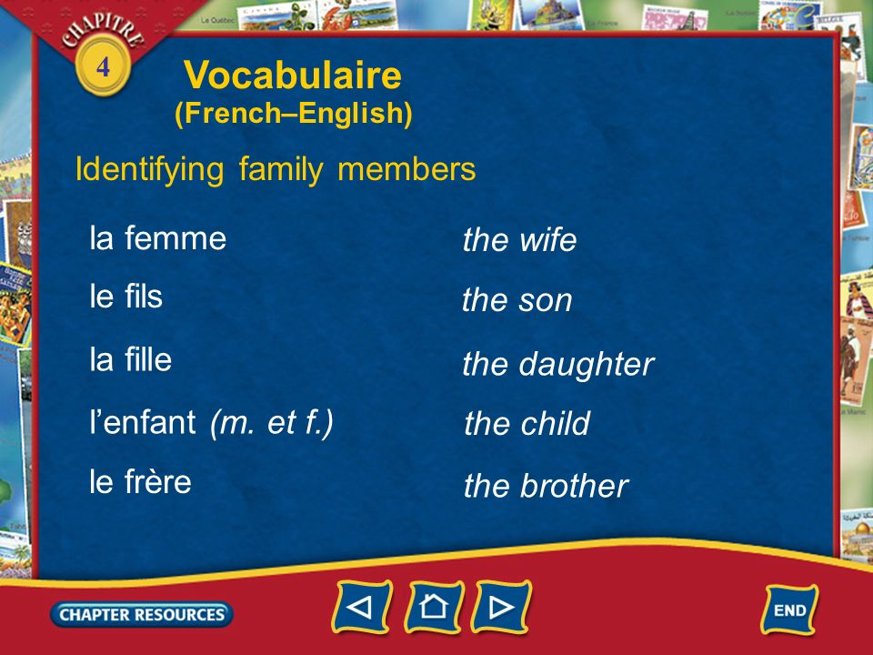 Vocabulaire Identifying family members la femme the wife le fils