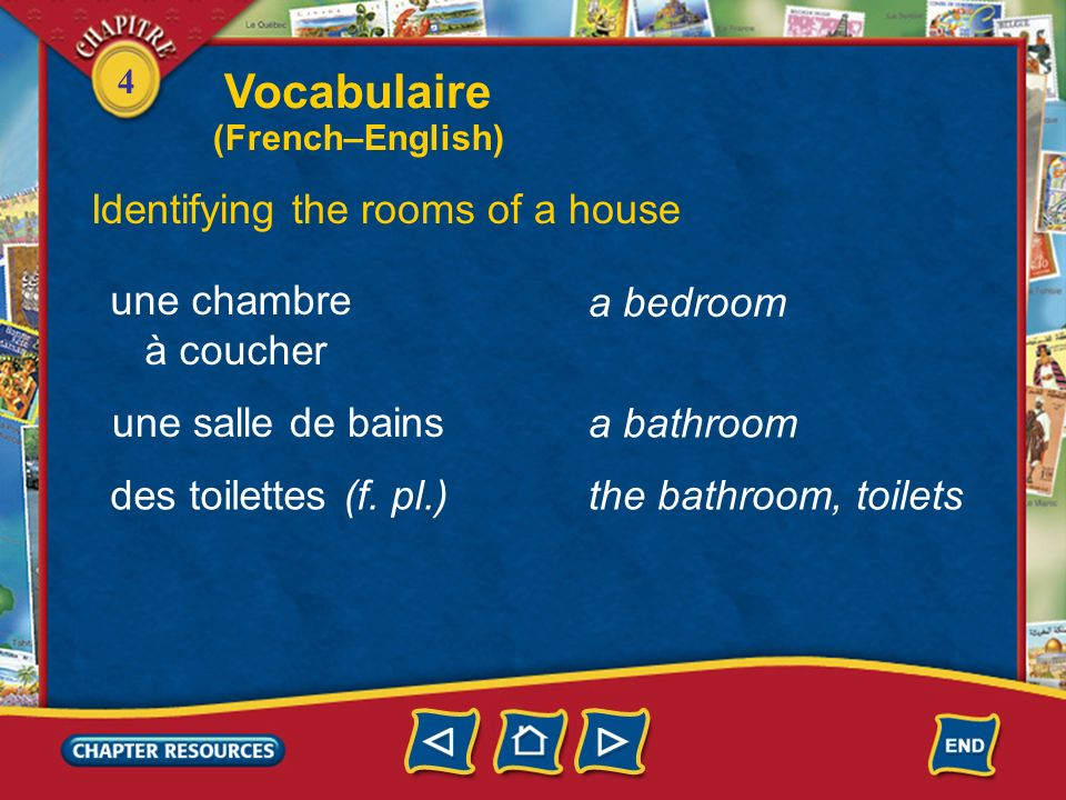 Vocabulaire Identifying the rooms of a house une chambre à coucher