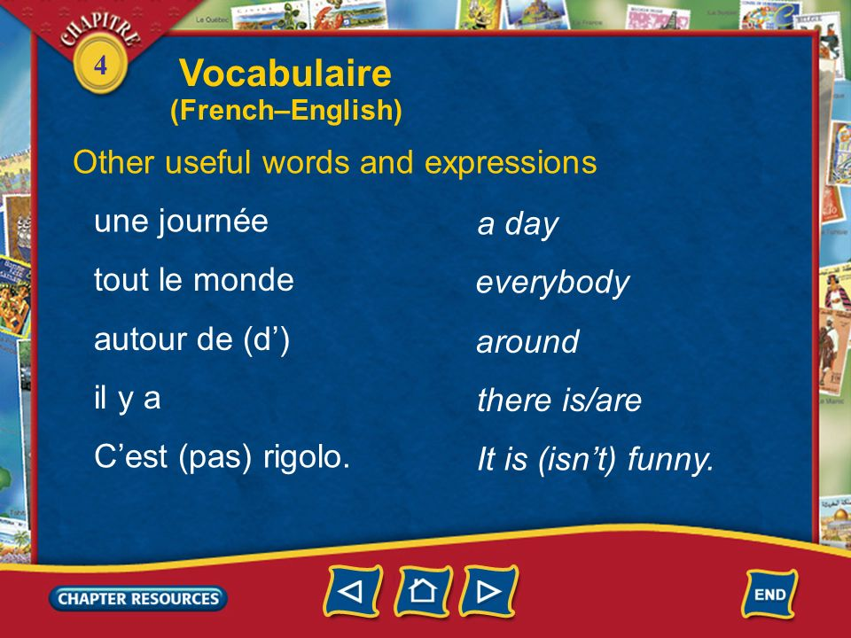Vocabulaire Other useful words and expressions une journée a day