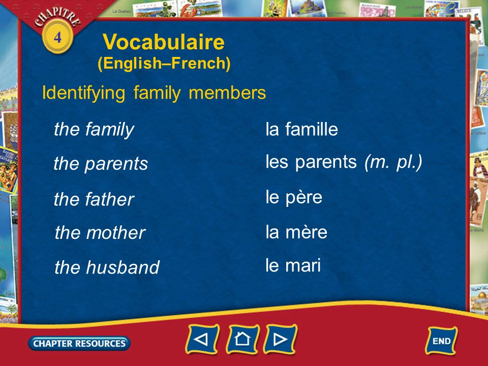 Vocabulaire Identifying family members the family la famille