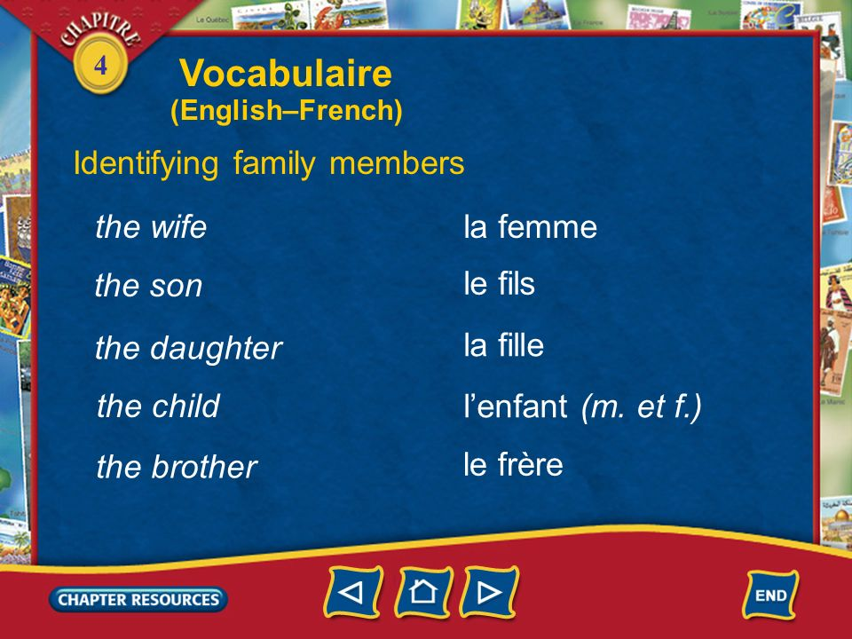 Vocabulaire Identifying family members the wife la femme the son