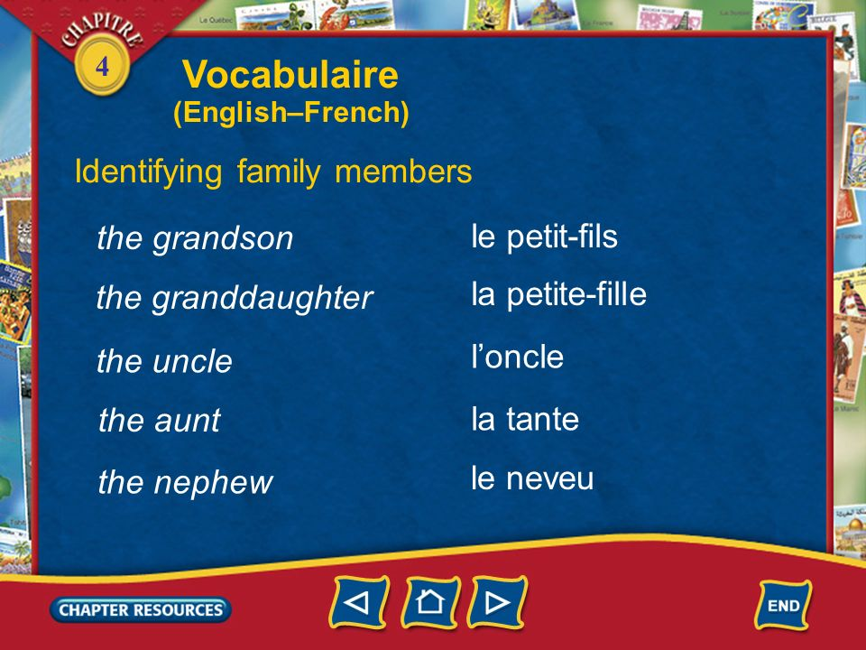 Vocabulaire Identifying family members the grandson le petit-fils