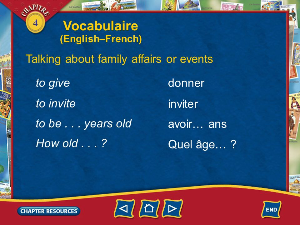 Vocabulaire Talking about family affairs or events to give donner