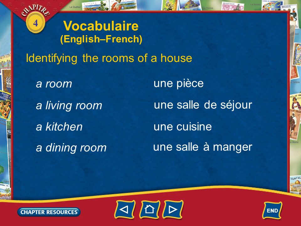 Vocabulaire Identifying the rooms of a house a room une pièce
