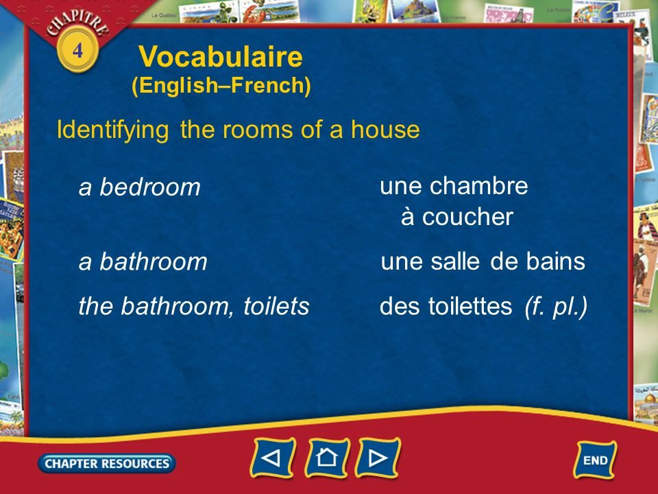 Vocabulaire Identifying the rooms of a house a bedroom une chambre