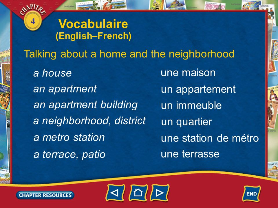 Vocabulaire Talking about a home and the neighborhood a house