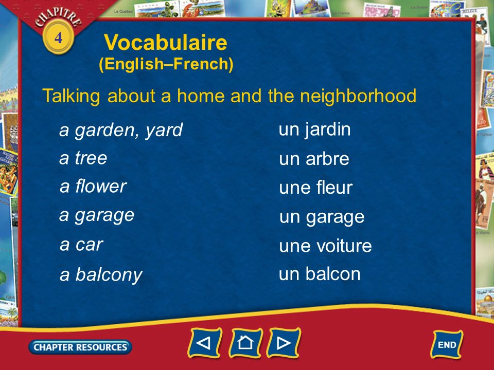 Vocabulaire Talking about a home and the neighborhood a garden, yard