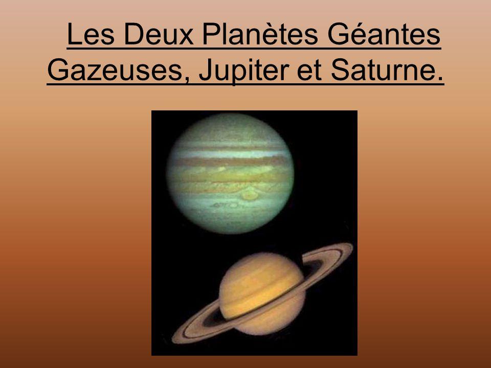 Les Deux Planètes Géantes Gazeuses, Jupiter et Saturne.