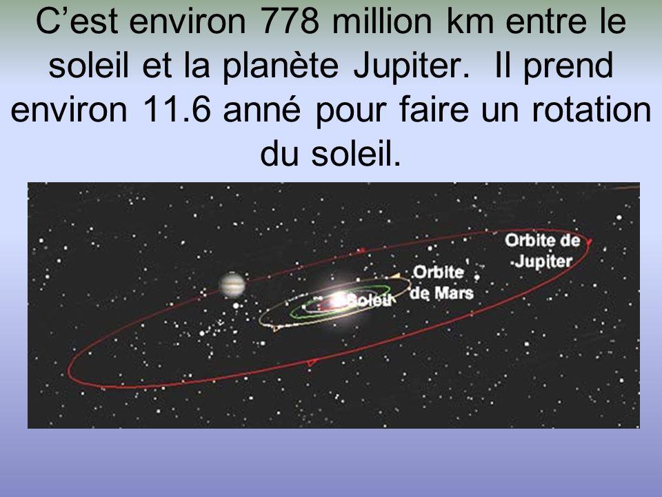C'est environ 778 million km entre le soleil et la planète Jupiter