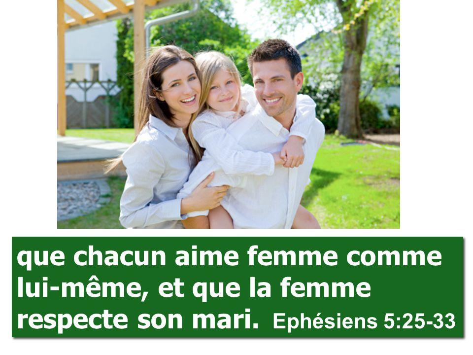 que chacun aime femme comme lui-même, et que la femme respecte son mari. Ephésiens 5:25-33