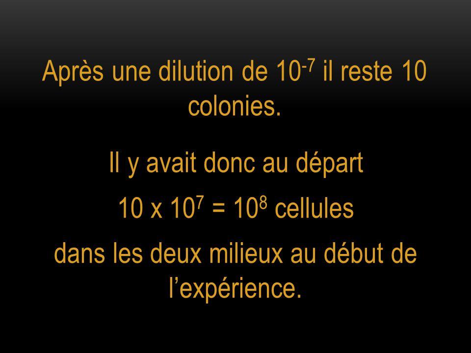 Après une dilution de 10-7 il reste 10 colonies.