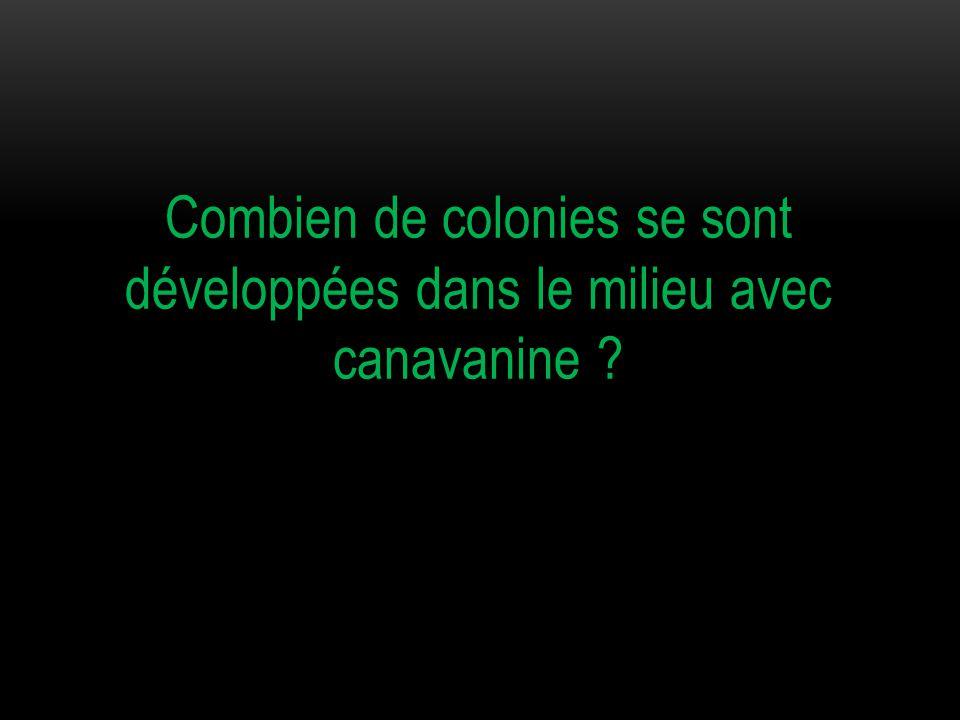 Combien de colonies se sont développées dans le milieu avec canavanine