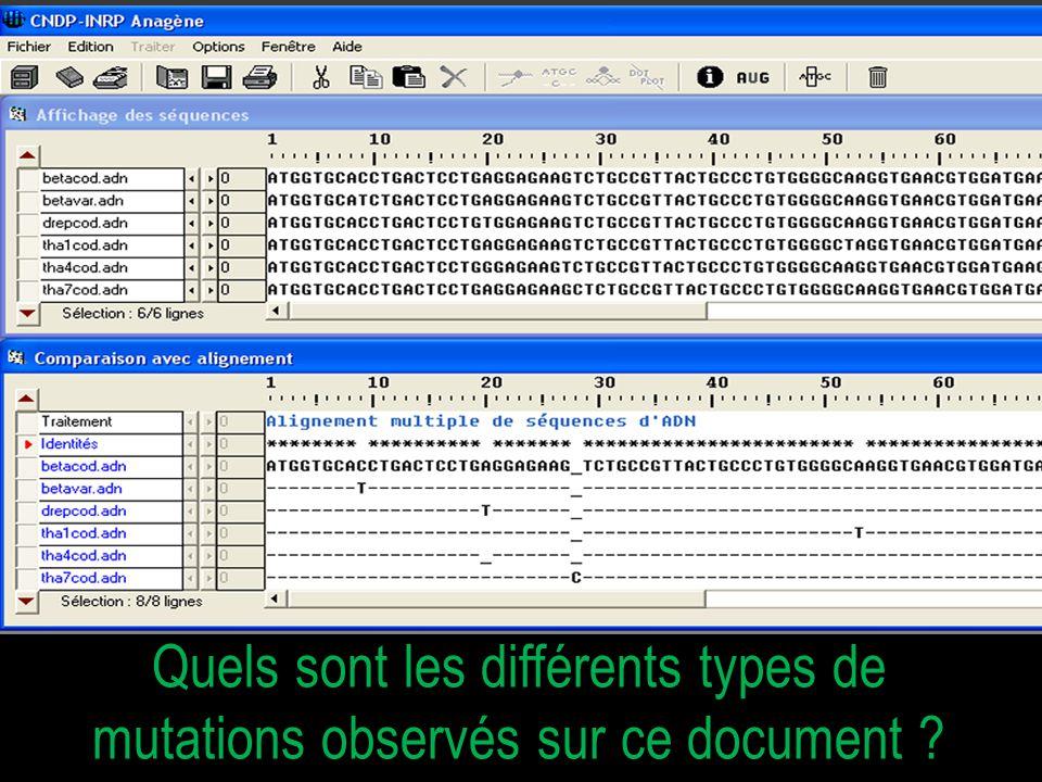 Quels sont les différents types de mutations observés sur ce document