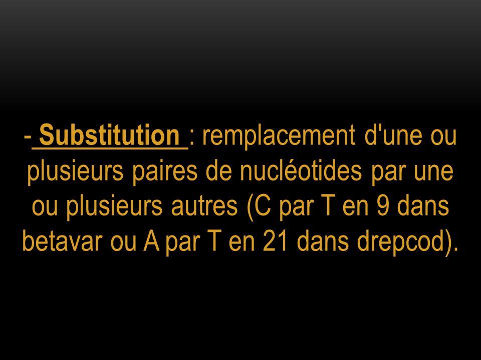 - Substitution : remplacement d une ou plusieurs paires de nucléotides par une ou plusieurs autres (C par T en 9 dans betavar ou A par T en 21 dans drepcod).