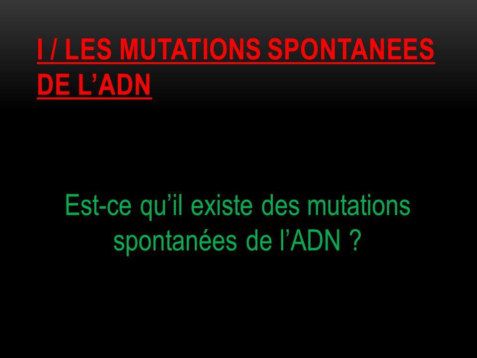 I / les mutations spontanees de l'adn
