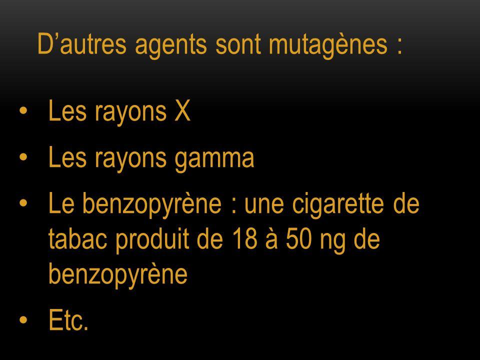 D'autres agents sont mutagènes :
