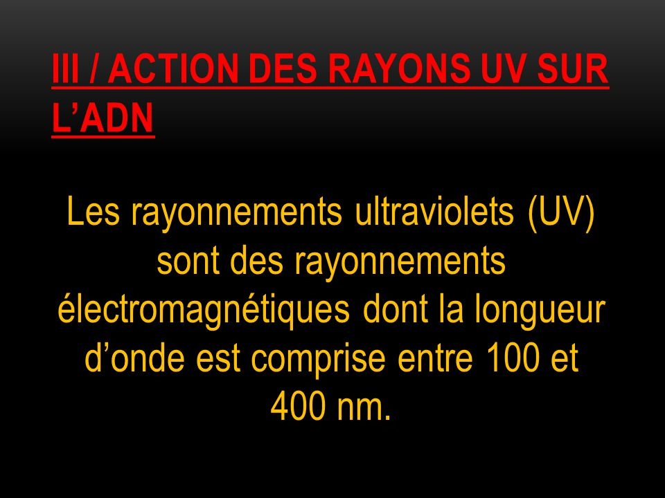 Iii / action des rayons uv sur l'adn