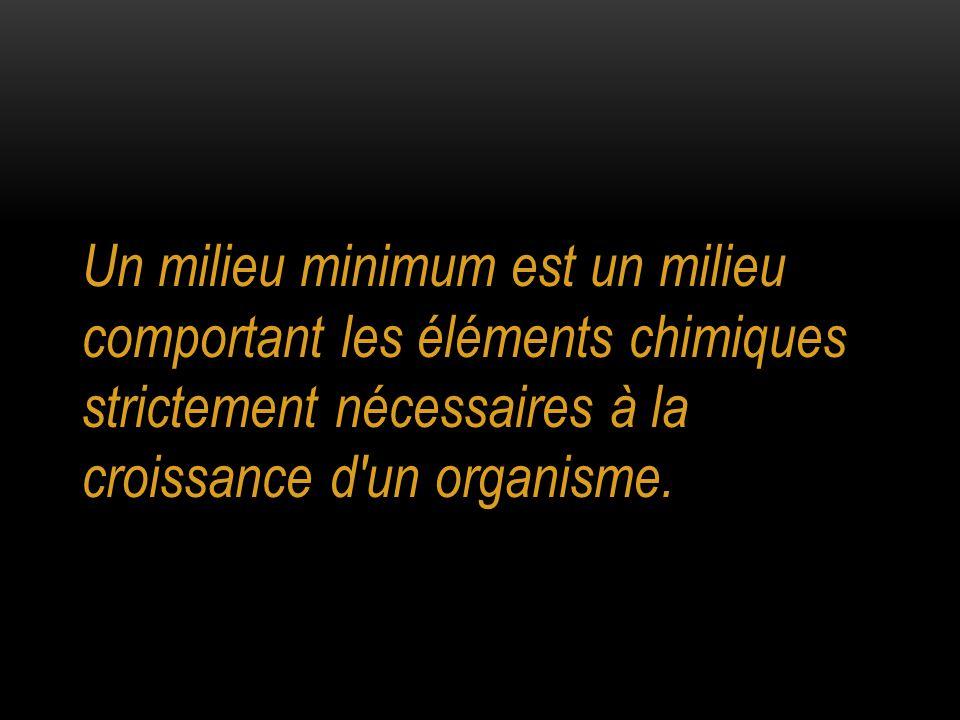 Un milieu minimum est un milieu comportant les éléments chimiques strictement nécessaires à la croissance d un organisme.