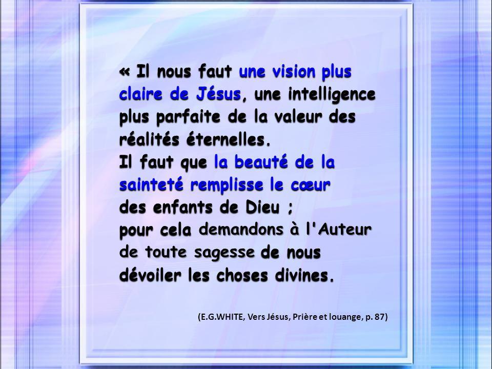 « Il nous faut une vision plus claire de Jésus, une intelligence plus parfaite de la valeur des réalités éternelles. Il faut que la beauté de la sainteté remplisse le cœur des enfants de Dieu ; pour cela demandons à l Auteur de toute sagesse de nous dévoiler les choses divines.