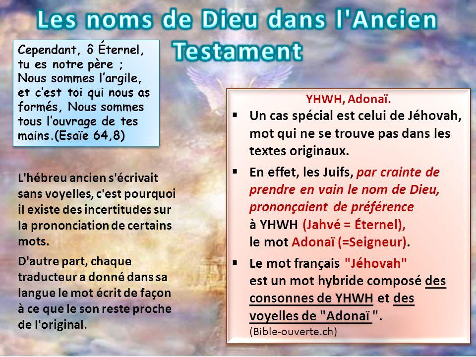 Les noms de Dieu dans l Ancien Testament