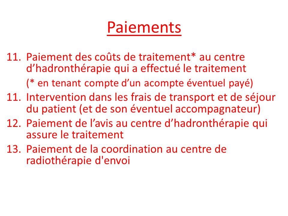 Paiements Paiement des coûts de traitement* au centre d'hadronthérapie qui a effectué le traitement.