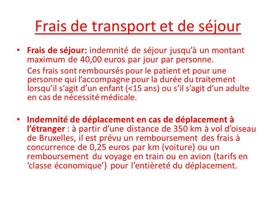 Frais de transport et de séjour