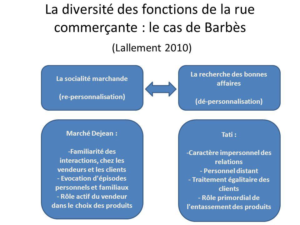 La diversité des fonctions de la rue commerçante : le cas de Barbès (Lallement 2010)
