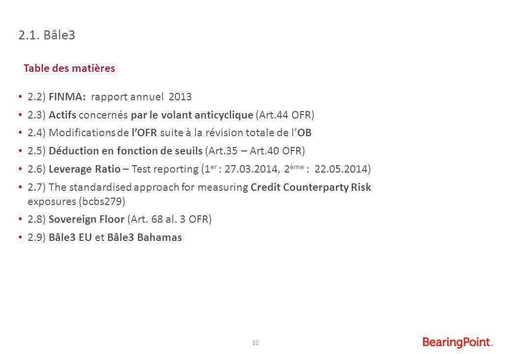 2.1. Bâle3 Table des matières 2.2) FINMA: rapport annuel 2013