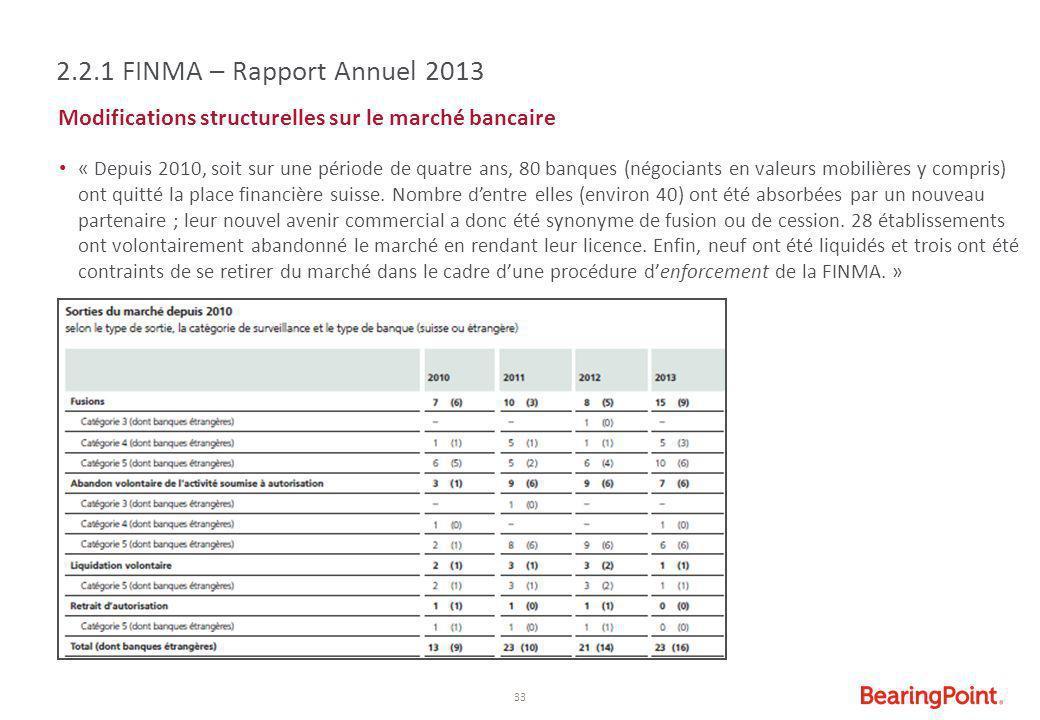 2.2.1 FINMA – Rapport Annuel 2013 Modifications structurelles sur le marché bancaire.
