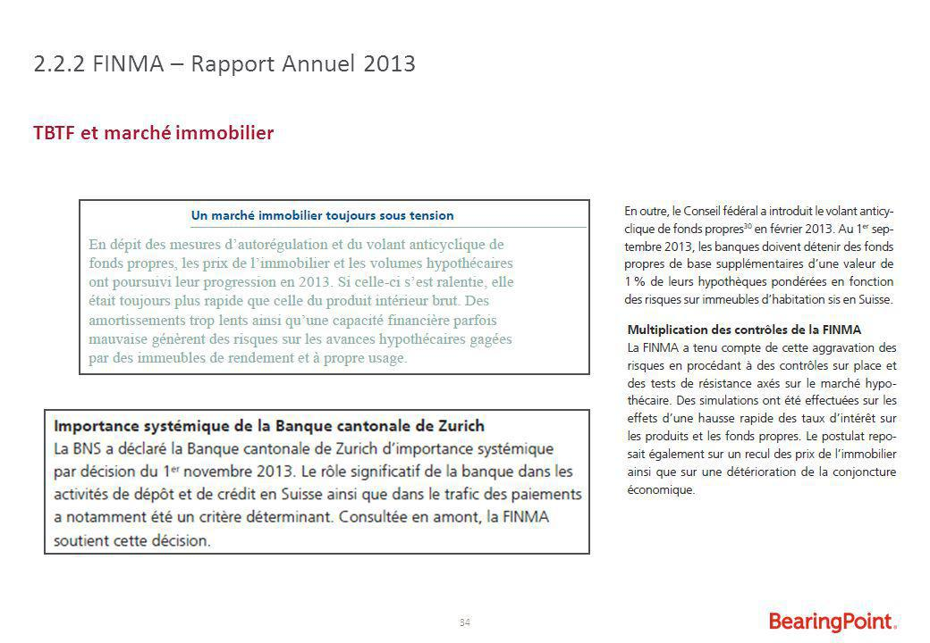 2.2.2 FINMA – Rapport Annuel 2013 TBTF et marché immobilier