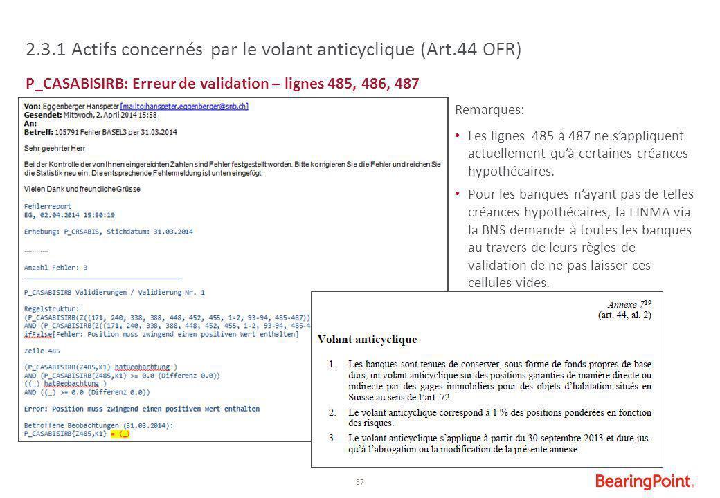 2.3.1 Actifs concernés par le volant anticyclique (Art.44 OFR)