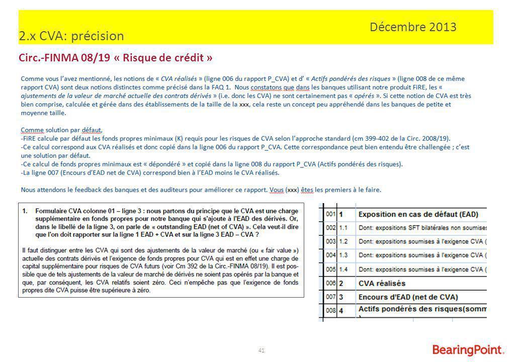 2.x CVA: précision Décembre 2013