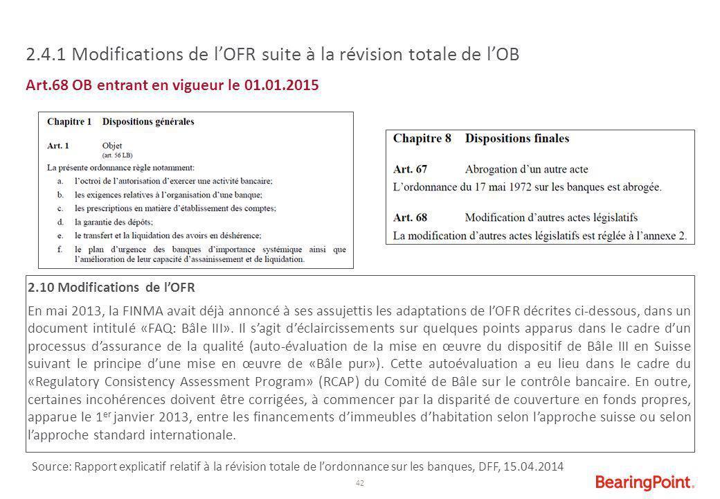 2.4.1 Modifications de l'OFR suite à la révision totale de l'OB