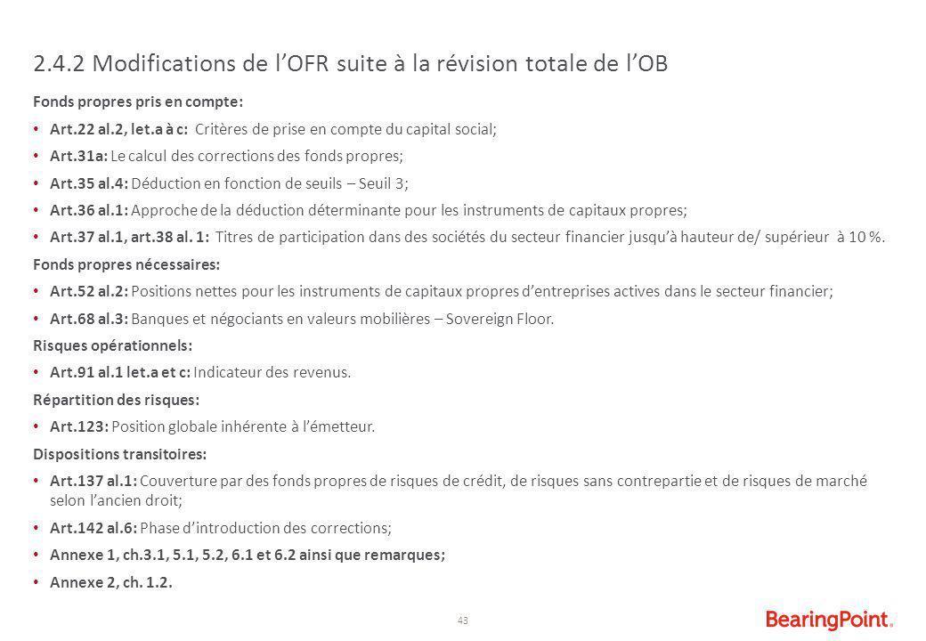 2.4.2 Modifications de l'OFR suite à la révision totale de l'OB