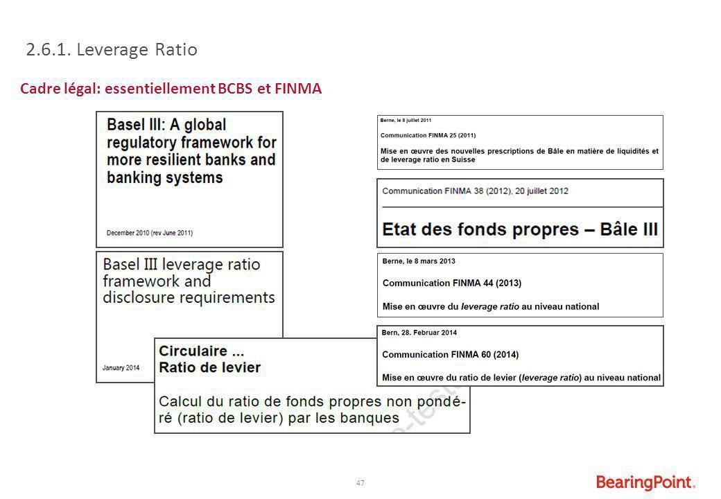 2.6.1. Leverage Ratio Cadre légal: essentiellement BCBS et FINMA