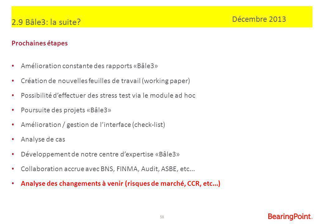 2.9 Bâle3: la suite Décembre 2013 Prochaines étapes