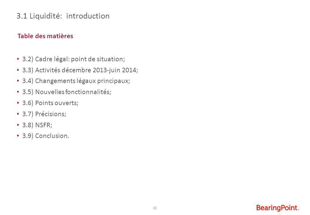3.1 Liquidité: introduction