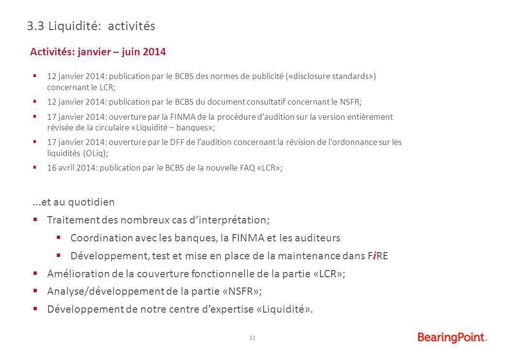 3.3 Liquidité: activités Activités: janvier – juin 2014
