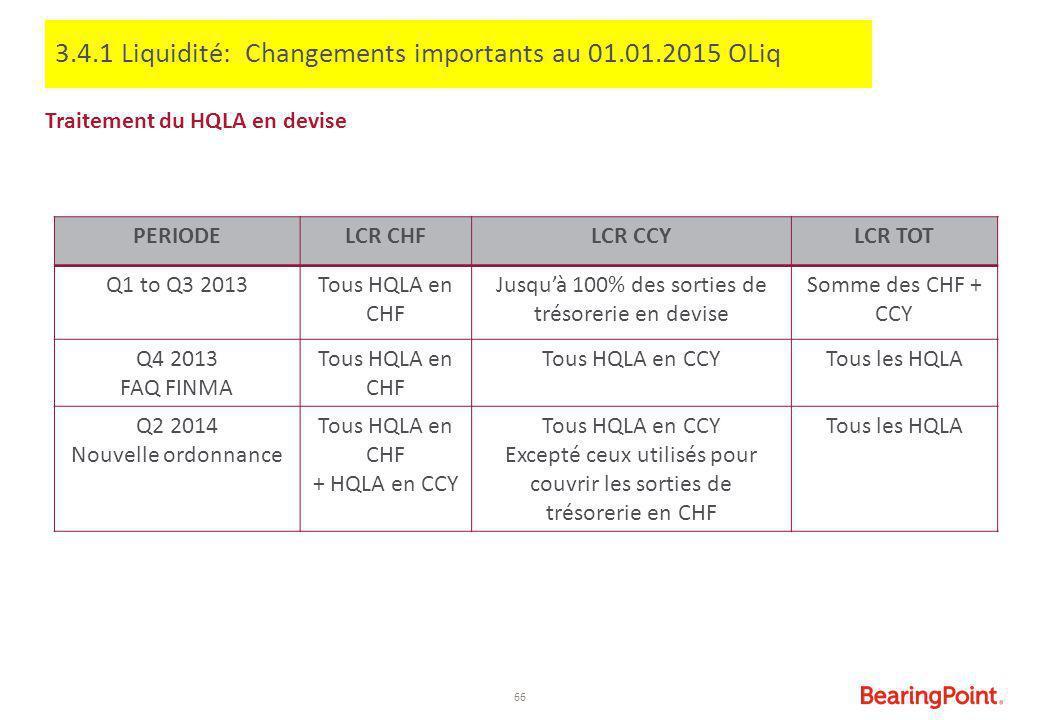 3.4.1 Liquidité: Changements importants au 01.01.2015 OLiq