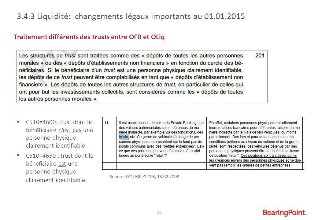 3.4.3 Liquidité: changements légaux importants au 01.01.2015
