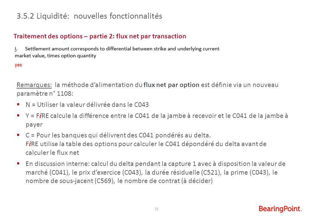 3.5.2 Liquidité: nouvelles fonctionnalités