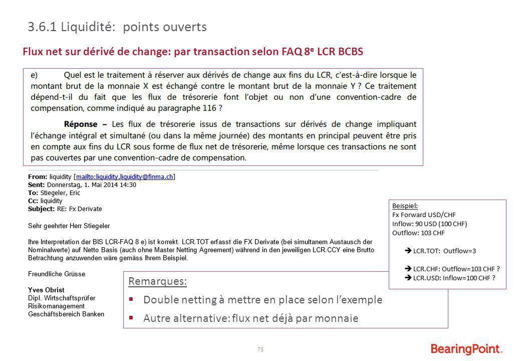 3.6.1 Liquidité: points ouverts