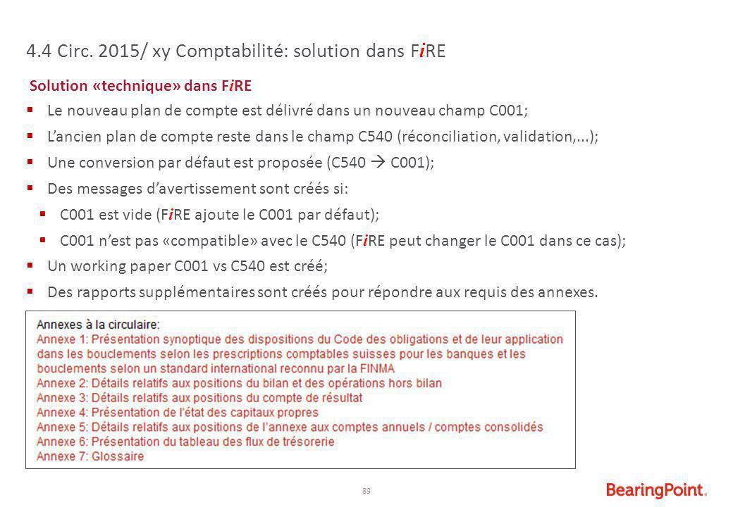 4.4 Circ. 2015/ xy Comptabilité: solution dans FiRE