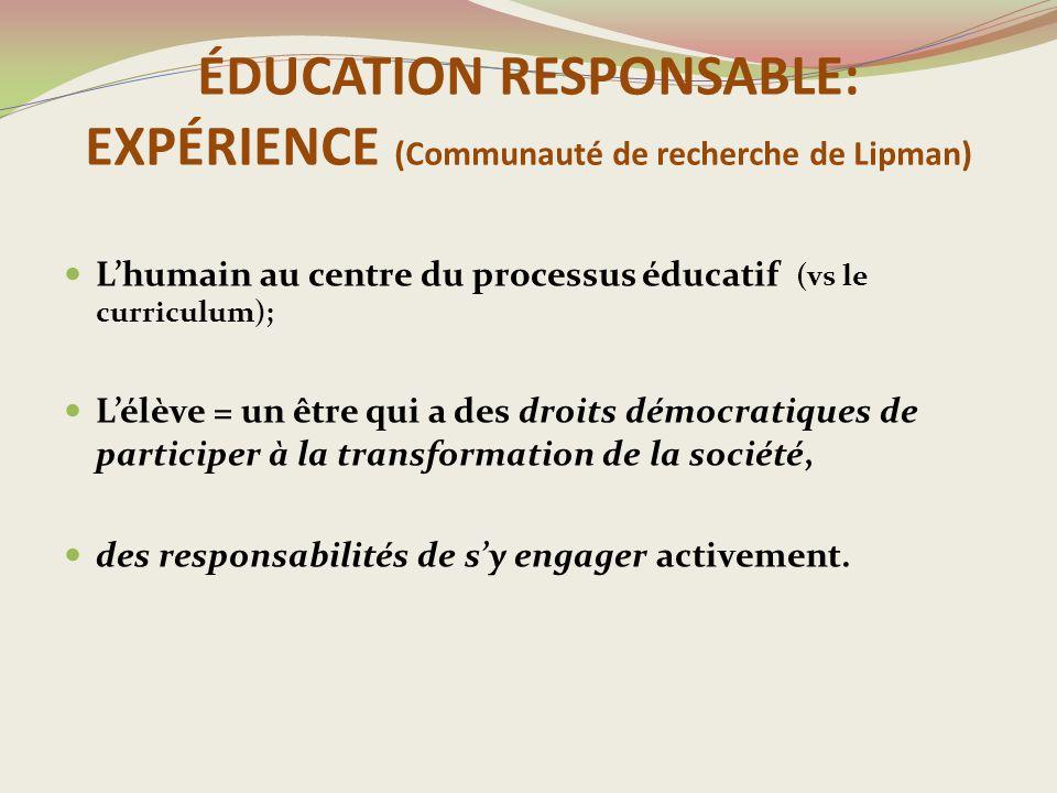 ÉDUCATION RESPONSABLE: EXPÉRIENCE (Communauté de recherche de Lipman)