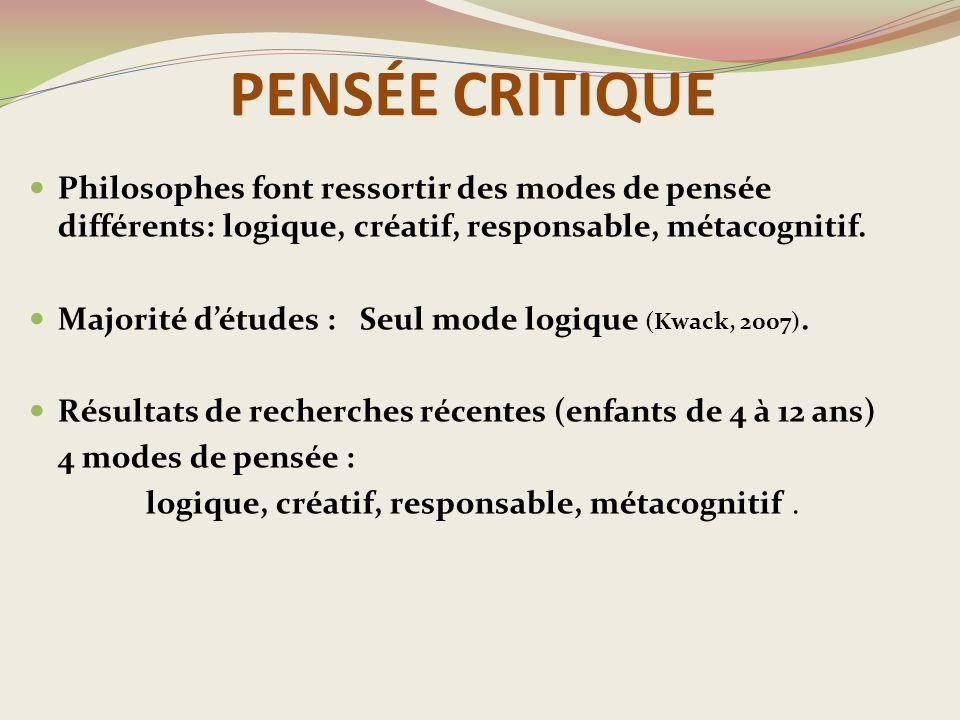 logique, créatif, responsable, métacognitif .