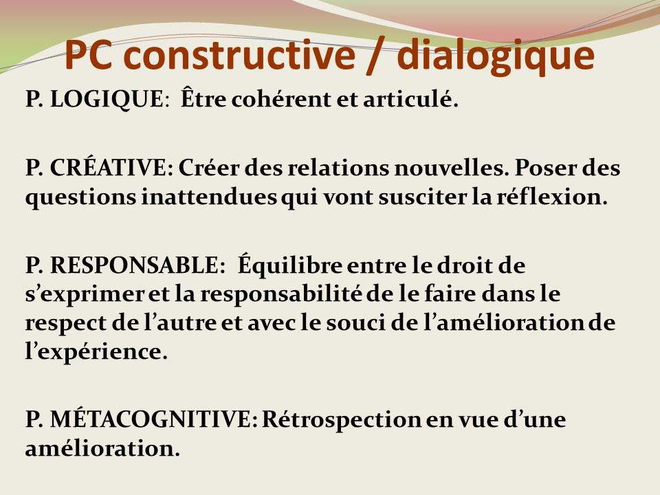 PC constructive / dialogique